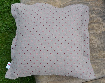 Linen pillow, decorative covers ,  throw pillows - red polka dot pattern 006