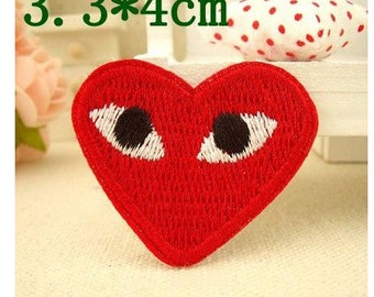 1pcs red heart Iron-on Patches /Appliqué /Embroidery patch --  Pattern 65