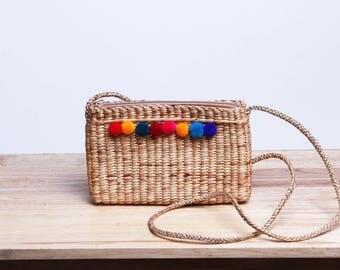 Pom Pom Crossbody Bag # Straw bag with Pom Pom # Mini cool bag # Thai Handmade #