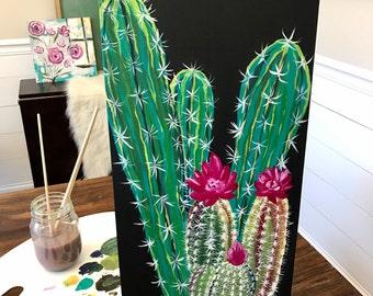 Prickly Plant Cactus Original Acrylic Canvas Panel Painting 10x20