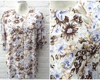 Summer shirt, vintage floral blouse, floaty women's fashion