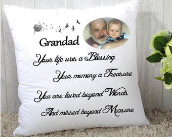 "Personalised remembrance Memory cushion cover 16""x16"" (40cmx40cm) gift name photo"