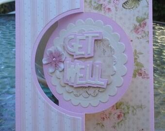 get well card, handmade cards, feminine card, greeting card, encouragement card