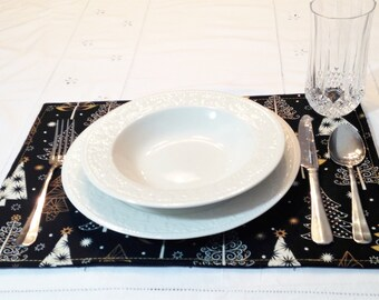 Gold and White Christmas Trees on Black Placemats