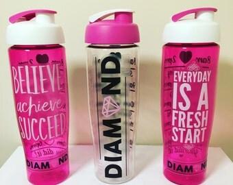 The Diamond Life Water Bottle, Water Tracking Bottle, Gym Bottle, Motivational Water Bottle, Sports Bottle, Water Intake Tracker.