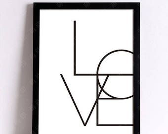 Decorative Love 30 x 40 cm canvas wall post word quote Scandinavian poster