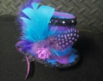 Blue and purple mini hat facinator