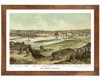 St. Paul MN, 1874; 24x36 inch print reproduced from a vintage painting or lithograph