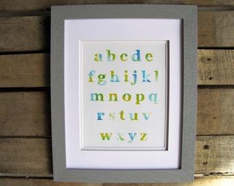 Watercolor Alphabet Art Print, ABC Art, Nursery Art, 8x10