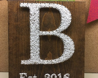 String Art Initial, Gallery Wall, Nursery, Rustic Wall Sign, Baby Shower Gift, Personalised Initial