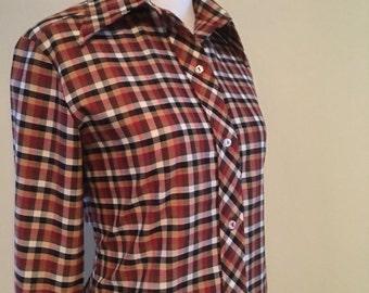 50% OFF --- Vintage 1970s Autumn Color Plaid Button Down Boho Blouse