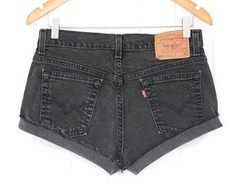 Black Levis High Waisted Shorts Levis Vintage Levi High Waisted Jean Shorts High Waist Shorts Vintage Levis Denim Levi Shorts S waist 30