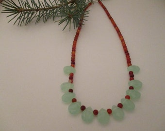 Agate and Chrysoprase Necklace, Mothers Day Gift