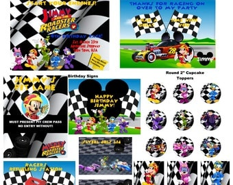 Mickey And The Roadster Racers Inspired HUGE Party Package Printables- Includes Invitation & Thank You Card + FREE Personalization