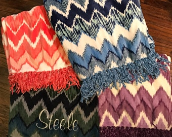 Monogrammed Chevron Throw