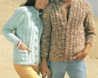 knitting pattern, pdf, men's, women's, easy knit cardigan, sizes 34-46 inch, instant download, digital download