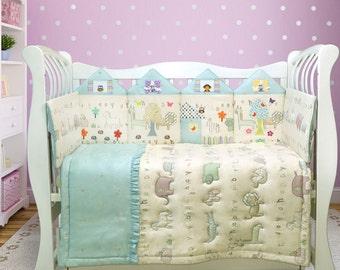Crib bedding/ Baby bedding/ Baby boy bedding/ Crib bedding set/ Toddler bedding/ Safari animal print bedding (046)