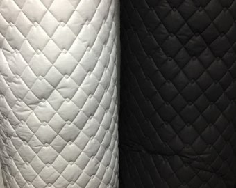 QUILTED FABRIC POLYCOTTON Black and White Double Diamond, Dress Jackets Numnah Pets, Sold by the Meter, Equestrian clothing, Bedding, Crafts