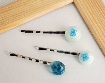 """Hair pins """"Little butterflies on blue"""". Set of three pins. Fused Glass Jewelry"""