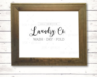 "Laundry Co sign 8.5x11"" instant digital download farmhouse sign"