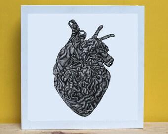 PRINT, Illustration, Heart, Brain, Texture heart, Texture brain, Gift for him, Gift for her, Original gift, Art, Home decor, Decor, Love