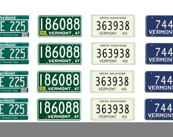 scale model car Vermont license tag plates