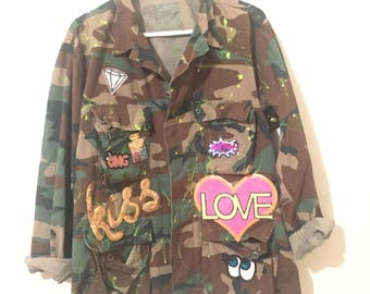 Camo Jacket w/ Patches and Neon Paint