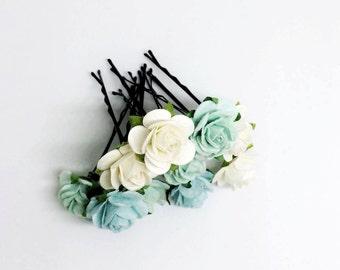 10 Small Mint Paper flower hair accessories, hair pin, bridal hair accessories, mint hair clip, mint hair pins, rustic wedding,