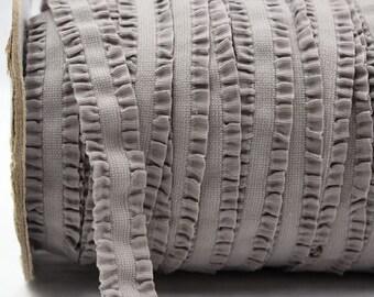 Grey Ruffle Frilly FOE Fold Over Elastic 16mm per Yard