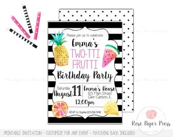 Two-tti Frutti 2nd Birthday Invitation | Tutti Frutti Invitation  | Custom Printable Invitation | Twotti Frutti, Fruity | Modern Invitation