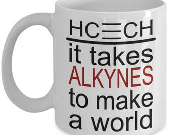 Funny Chemistry Mugs - It Takes Alkynes To Make A World - Ideal Science Gifts