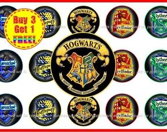 Harry Potter - Hogwarts - Bottle Cap Images - Instant Download - High Resolution Images - Buy3, Get 1 FREE