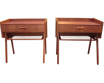 Pair Of Danish Mid Century Modern Night Tables With Cane Shelf