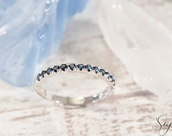 Blue Sapphire Half Eternity Engagement Band 14K Solid White Gold, Wedding Ring, Genuine Sapphire, September Birthstone, Gold by Sapheena