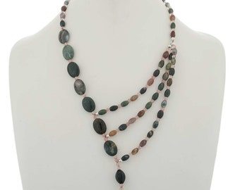 Ocean Agate Asymmetrical Bead Necklace Navajo Choker