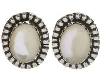 Navajo Mother of Pearl Silver Earrings Southwest Post Studs