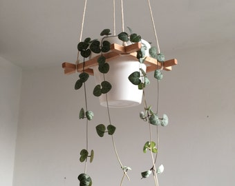 Plant Hanger / square wood sticks and 100% cotton rope