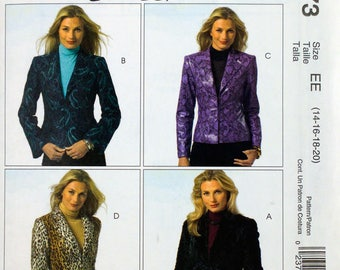 McCall 4973  Free Shipping  Miss Jacket  4 Variations Woman's Day Collection  Size 14 to 20  Uncut