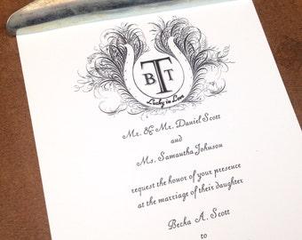 Lucky in love vintage pen flourishing horseshoe 2 piece invitation