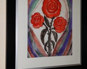 Red rose flowers watercolor beautiful 50 x 60 cm unique