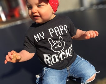 Papa Rocks - Gift For Dad, Funny Bodysuit, Birthday Gift, Fathers Day Gift, Grandpa Gift, Papa Gift, Grandma Gift, Rock Baby, Rock Bodysuit