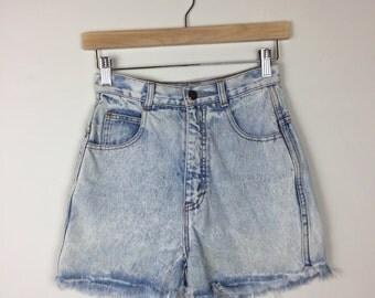 90s High Waist Denim Shorts Size 23, Light Wash 90s Denim Shorts, 90s Denim Shorts 23, Acid Wash Denim