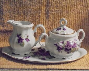 Vintage German Bareuther Cream & Sugar with Tray  Violet Motif 1930s 1940s
