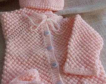 set: cardigan, hat, booties, apricot color, handmade, knitted, knitting, handmade, colour apricot