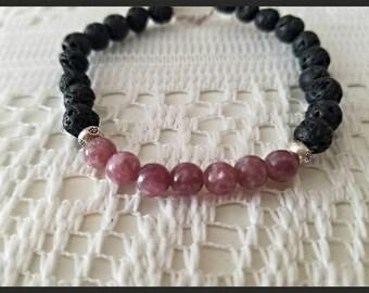 Lepidolite Lava Bracelet Aromatherapy Bracelet Diffuser Bracelet 925 Karen Hill Sterling Silver Bracelet