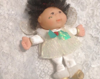 1995 Vintage Retro Mattel Mini Cabbage Patch Kid Doll Christmas Angel Wings 1990s