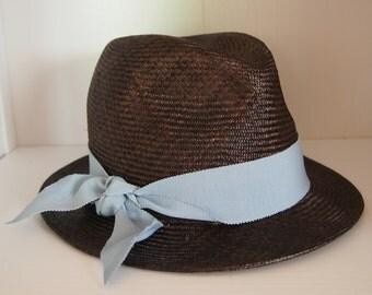 Straw Hat Trilby Brown Blue