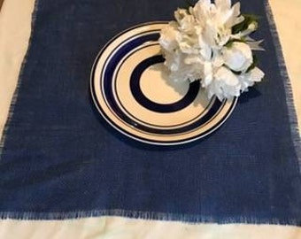 blue burlap table square