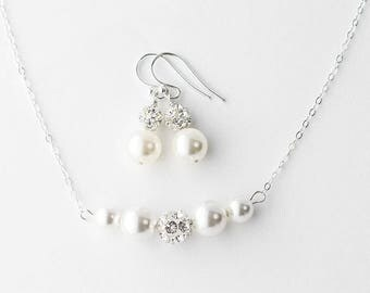 Pearl Bridesmaid Jewelry set, Bridesmaid Pearl Jewelry set, Pearl Earrings Necklace, Pearl Bridesmaid Jewelry Set Pearl Bridesmaid Jewelry