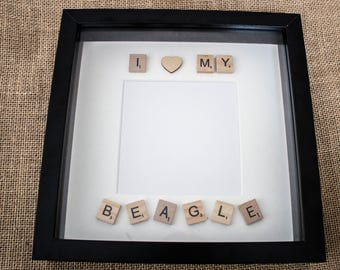 I love my ....  photo frame with wooden heart embellishment